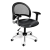 OFM Moon Swivel Plastic Chair with Arms, Black