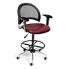 Moon Swivel Vinyl Chair with Arms and Drafting Kit, Wine