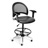 Moon Swivel Vinyl Chair with Arms and Drafting Kit, Charcoal