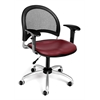 Moon Swivel Vinyl Chair with Arms, Wine