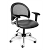 Moon Swivel Vinyl Chair with Arms, Charcoal