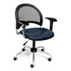 Moon Swivel Vinyl Chair with Arms, Navy