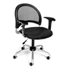 Moon Swivel Vinyl Chair with Arms, Black