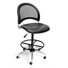 OFM Moon Swivel Vinyl Chair with Drafting Kit, Charcoal