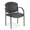 OFM Manor Series Guest/Reception Chair (4 legs, Vinyl), Charcoal