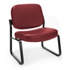 Big & Tall Vinyl Armless Guest / Reception Chair, Wine