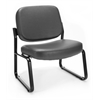 Big & Tall Vinyl Armless Guest / Reception Chair, Charcoal