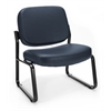 OFM Big & Tall Vinyl Armless Guest / Reception Chair, Navy