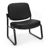 Big & Tall Vinyl Armless Guest / Reception Chair, Black