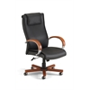 OFM Apex Series Executive Leather Chair with Wood Accents (High-Back), Black, Cherry Accents