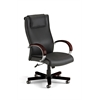 Apex Series Executive Leather Chair with Wood Accents (High-Back), Black, Mahogany Accents
