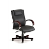 OFM Apex Series Executive Leather Chair with Wood Accents (Mid-Back), Black, Mahogany Accents