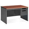 Executive Series Single Pedestal Panel End Desk with Center Drawer 29.50 x 47.25, Cherry