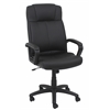 Swivel Leather Task Chair with Arms, Black