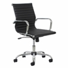 OFM Essentials by OFM Swivel Ribbed Leather Executive Conference Chair with Arms, Black/Chrome