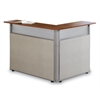 48 x 37 L-Shaped Reception Station, Beige, Cherry Top