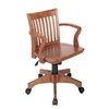 Office Star Deluxe Wood Banker's Chair with Wood Seat in Fruit Wood Finish