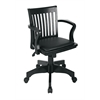 Office Star Deluxe Wood Banker's Chair with Vinyl Padded Seat in Black Finish with Black Vinyl