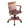 Office Star Deluxe Wood Banker's Chair with Vinyl Padded Seat in Fruit Wood Finish with Brown Vinyl