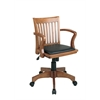 Office Star Deluxe Wood Banker's Chair with Vinyl Padded Seat in Fruit Wood Finish with Black Vinyl