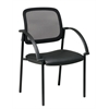 Office Star Screen Back and Faux Leather Seat Visitors Chair with Arms