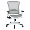 Office Star White Frame Managers Chair with Padded Mesh Seat and Back, Height Adjustable Flip Arms and Coated Nylon Base (White)