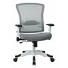 Office Star SPACE Seating White Frame Managers Chair with Breathable Mesh Back, Padded Mesh Seat, Adjustable Flip Arms, Adjustable Lumbar Support and Coated Nylon Base. ( Dove Steel Fabric)