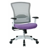 Office Star SPACE Seating White Frame Managers Chair with Breathable Mesh Back, Padded Mesh Seat, Adjustable Flip Arms, Adjustable Lumbar Support and Coated Nylon Base. (Dove Violet Fabric)