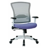 Office Star SPACE Seating White Frame Managers Chair with Breathable Mesh Back, Padded Mesh Seat, Adjustable Flip Arms, Adjustable Lumbar Support and Coated Nylon Base. (Dove Sky Fabric)