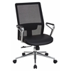 Office Star High Mesh Back and Bonded Leather Seat Managers Chair with Padded Polished Aluminum Arms and Chrome Base