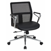 Office Star Mid Mesh Back and Bonded Leather Seat Managers Chair with Padded Polished Aluminum Arms and Chrome Base