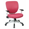 Office Star Managers Chair with Padded Mesh Seat and Back, Height Adjustable Flip Arms and Coated Nylon Base (Pink)