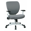 Office Star Managers Chair with Padded Mesh Seat and Back, Height Adjustable Flip Arms and Coated Nylon Base (Dove Steel)