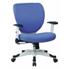 Office Star Managers Chair with Padded Mesh Seat and Back, Height Adjustable Flip Arms and Coated Nylon Base (Dove Sky Fabric)