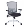 Office Star White Breathable Mesh Back and Paddded Mesh Seat Managers Chair with Adjustable Flip Arms, Adjustable Lumbar Support & Coated Nylon Base.