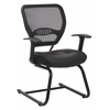 "Professional Air Grid Back Visitors Chair with Eco Leather Seat - Leather Black Seat - Black Frame - Sled Base - 20.50"" Seat Width x 19.50"" Seat Depth - 24.5"" Width x 25.5"" Depth x 37.3"""
