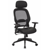 Office Star Professional Air Grid® Chair with Bonded Leather Seat and Adjustable Headrest