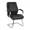 Office Star Deluxe Mid Back Executive Black Bonded Leather Visitors Chair with Chrome Finish Base and Padded Polished Aluminum Arms.