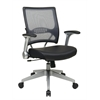 Office Star 2-to-1 Synchro Tilt Light Professional AirGrid® Back and Black Eco Leather Seat Managers Chair with Flip Arms and Angled Platinum Coated Base