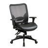 Office Star Professional Breathable Mesh Black Back and Layered Leather Seat Ergonomic Chair with Adjustable Lumbar Support