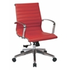 Office Star Mid Back Red Bonded Leather Chair with Locking Tilt Control and Polished Aluminum Arms and Base.