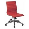 Office Star Mid Back Armless Red Bonded Leather Chair with Polished Aluminum Arms and Base.