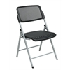 Office Star Deluxe Folding Chair With Black ProGrid® Seat and Back and Silver Finish (2-Pack) Gangable