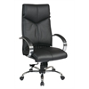 Office Star Deluxe High Back Black Executive Leather Chair with Chrome Finish Base and Padded Polished Aluminum Arms