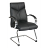 Office Star Deluxe Mid Back Black Visitors Leather Chair with Chrome Finish Sled Base and Padded Polished Aluminum Arms