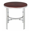 Office Star Alexandria Round End Table In Cherry Finish Top, Chrome Metal Plating Legs