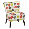 Office Star Apollo Chair with Dark Espresso Finished Legs and Dot Poppy Fabric