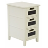 Avery Chalkboard Chair Side Table in Cream Finish, Fully Assembled