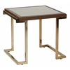 Office Star Isabella End Table with Bronze Glass Top and Champagne Metal Frame
