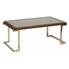 Office Star Isabella Coffee Table with Bronze Glass Top and Champagne Metal Frame